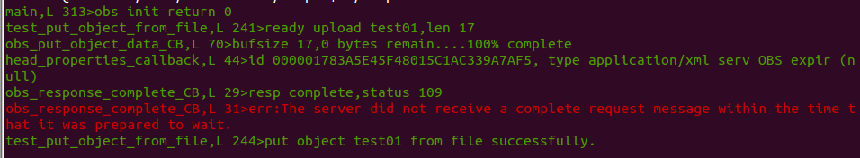 OBS_C-SDK上传对象失败错误码109